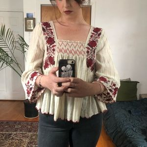 Zara Embroidered & Smocked Blouse